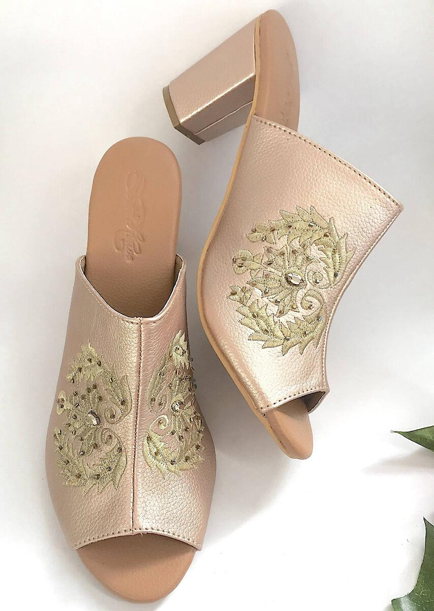 Rose Gold Mules With Zari Embroidery