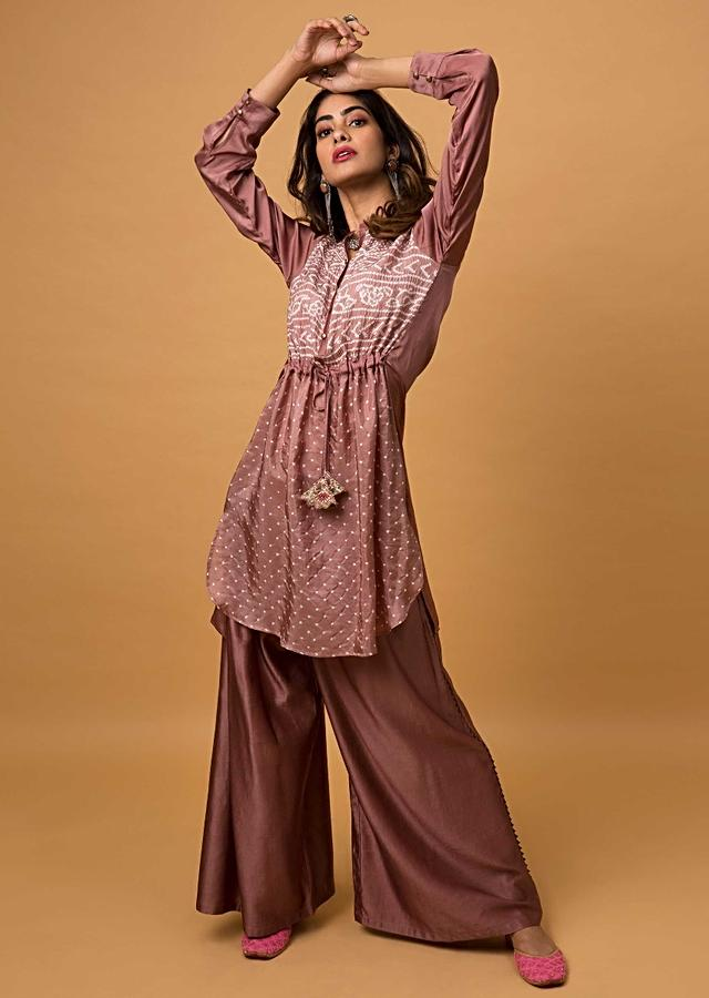 Rose Gold Palazzo Suit With Real Bandhani Kurta Online - Kalki Fashion