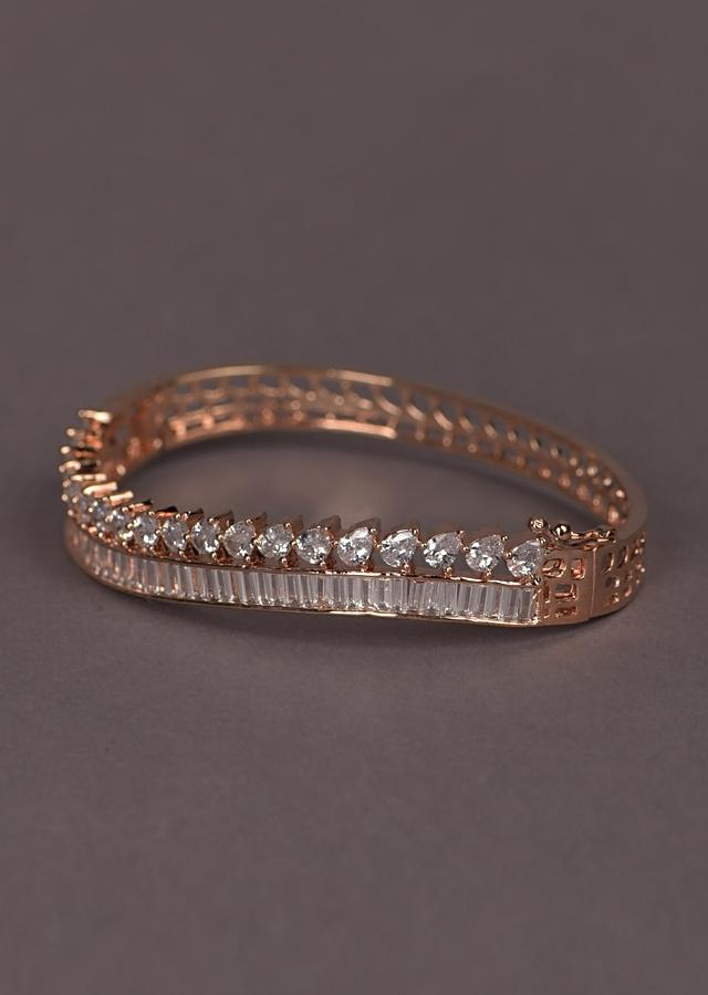 Rose Gold Plated Bracelet With Drop Shaped Crystals And Bugle Beads In Wave Pattern Online - Kalki Fashion