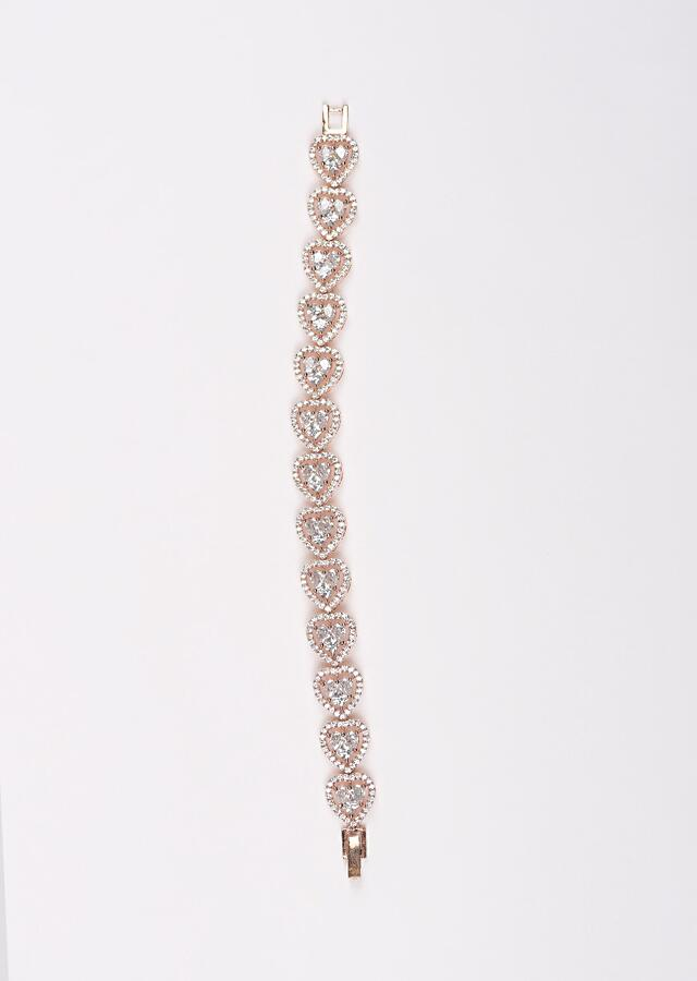 Rose Gold Plated Bracelet With Stones And Crystals In Heart Motifs Online - Kalki Fashion