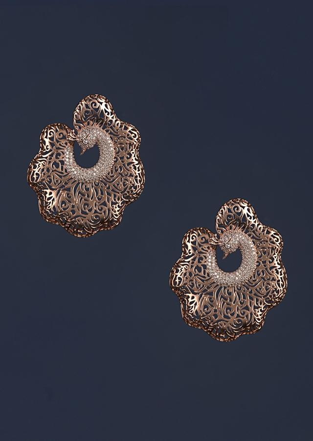 Rose Gold Plated Carved Studs In Bird Motif Studded With Stones Online - Kalki Fashion