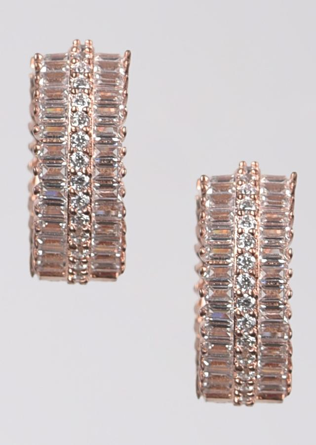 Rose Gold Plated Hoop Earrings Studded With Stones And Bugle Beads Online - Kalki Fashion