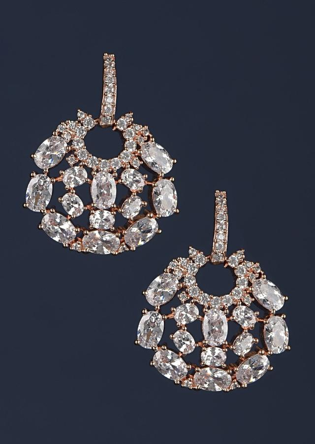 Rose Gold Plated Studs In Round Motif With Crystals And Stones Online - Kalki Fashion