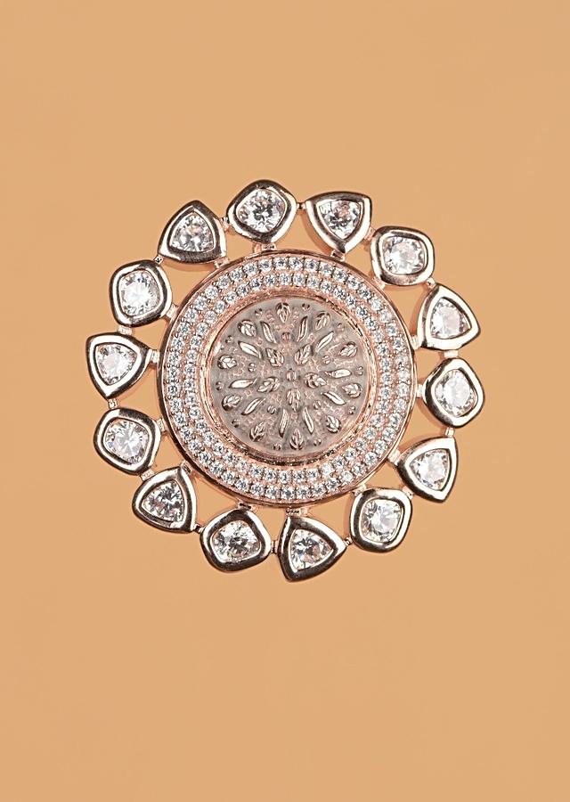 Rose Gold Plated Studs With Stones And Carved Floral Pattern Online - Kalki Fashion