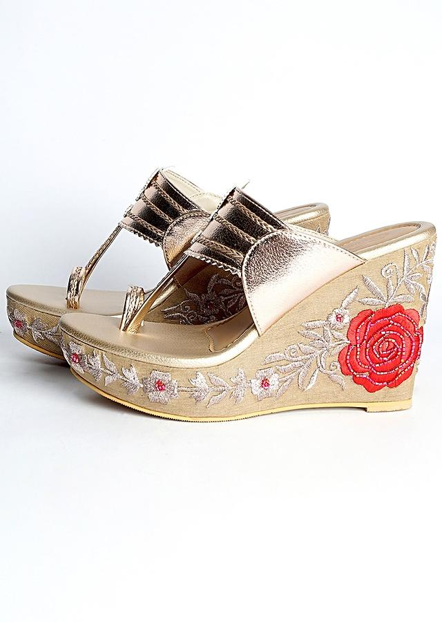 Rose Gold Kolhapuri Wedges With Zari And Resham Embroidered Roses On The Heel By Sole House