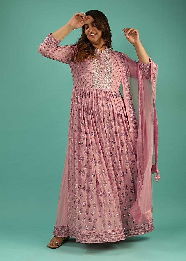 Rose Pink Anarkali Suit In Georgette With Resham And Mirror Embroidered Floral Buttis And Chiffon Dupatta Online - Kalki Fashion