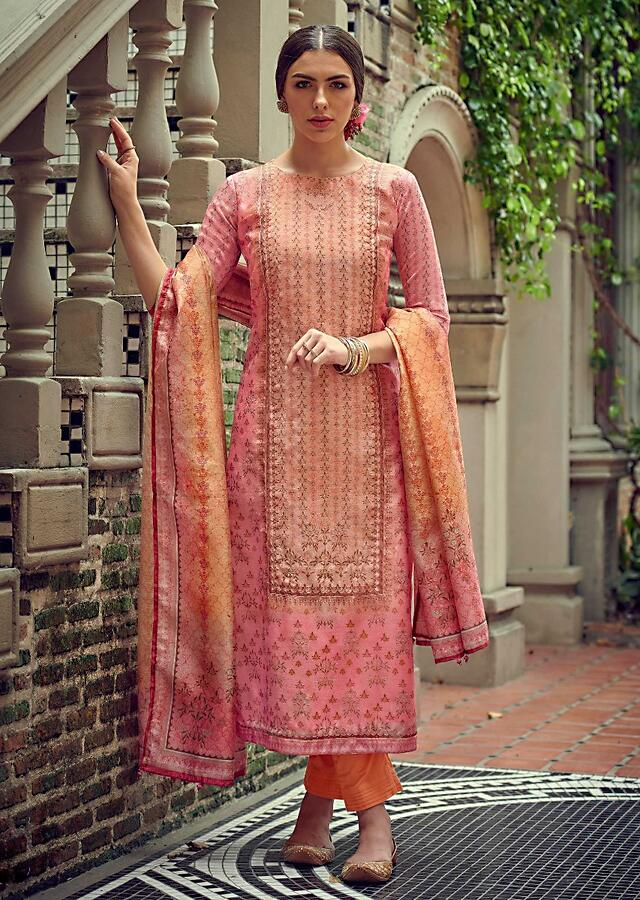 Rose Pink And Peach Shaded Straight Cut Suit In Tussar Silk With Floral Print And Zari Work Online - Kalki Fashion