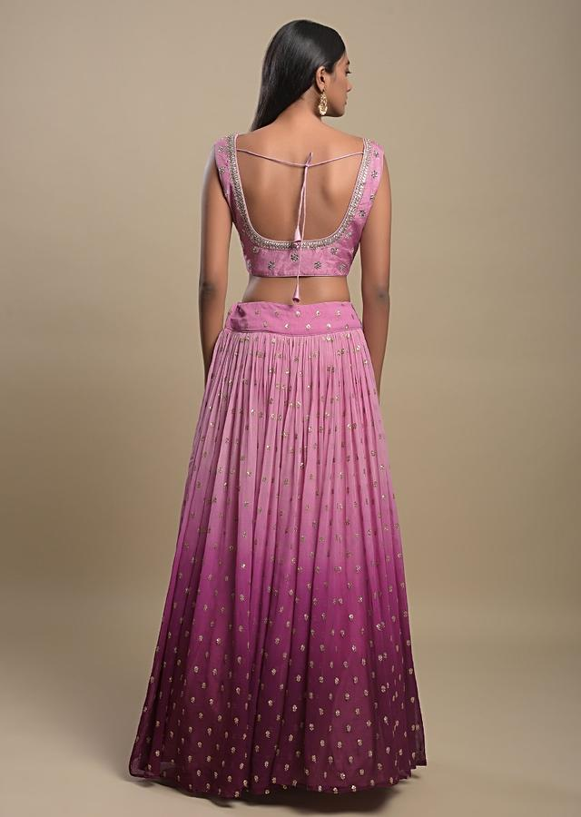 Rose Pink And Purple Ombre Lehenga Choli In Georgette With Sequins Embroidered Buttis Online - Kalki Fashion