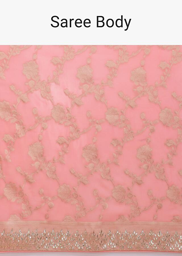 Rose Pink Banarasi Saree With Weaved Floral Jaal And Gotta Embroidery Online - Kalki Fashion