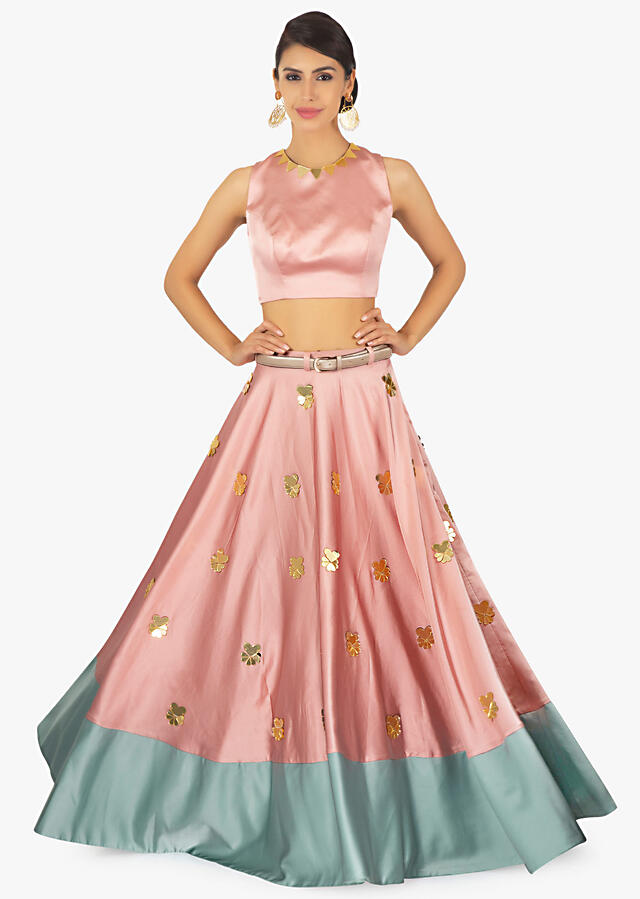 Rose Pink Crop Top Paired With A Rose Pink And Turq Green Skirt Online - Kalki Fashion
