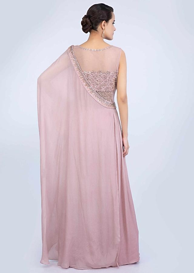 Rose Pink Gown With Embroidery And A Pre Stitched Drape Online - Kalki Fashion
