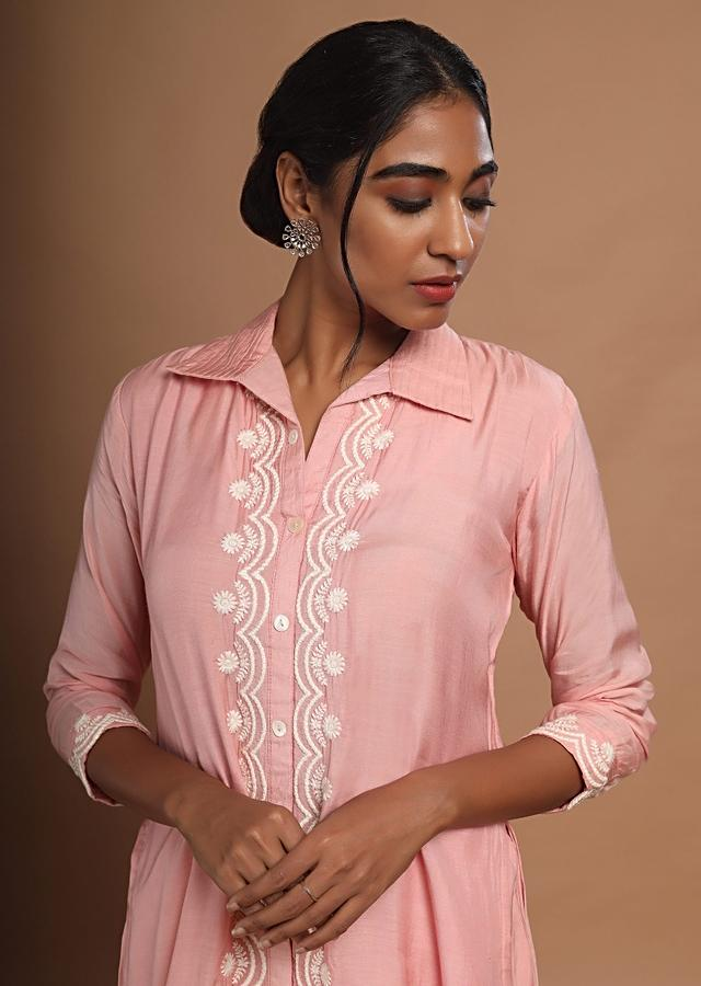 Rose Pink High Low Kurti With Cigarette Pants And Thread Embroidered Placket Online - Kalki Fashion
