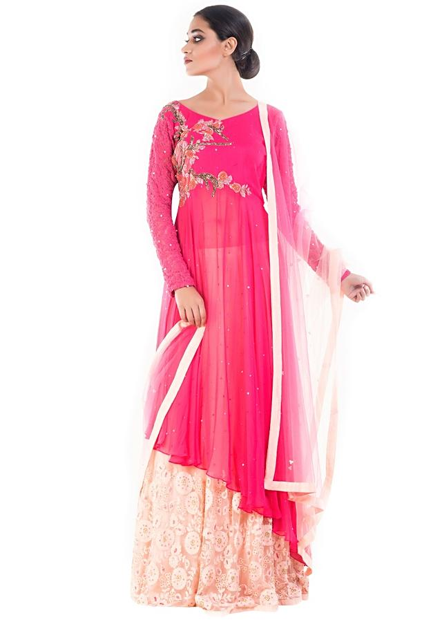 Rose Pink Long Jacket With Cream Lehenga Set Online - Kalki Fashion
