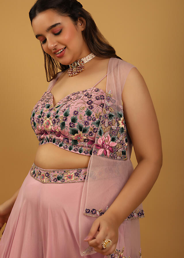 Rose Pink Palazzo And Crop Top Suit With Multi Colored Resham Embroidery And Layered Peplum Jacket Online - Kalki Fashion