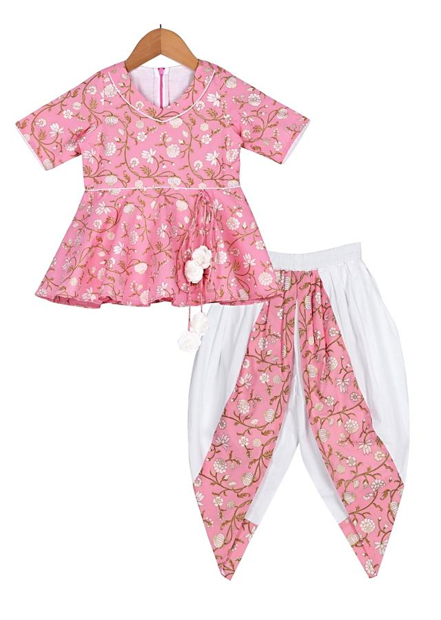 Rose Pink Peplum Top With Floral Print And White Dhoti Pants Online - Free Sparrow