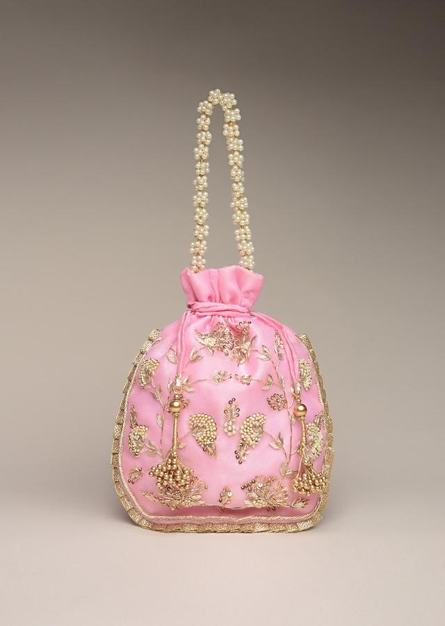 Rose Pink Potli Bag In Silk With Hand Embroidered Floral Design Using Sequins And Zardosi Online - Kalki Fashion