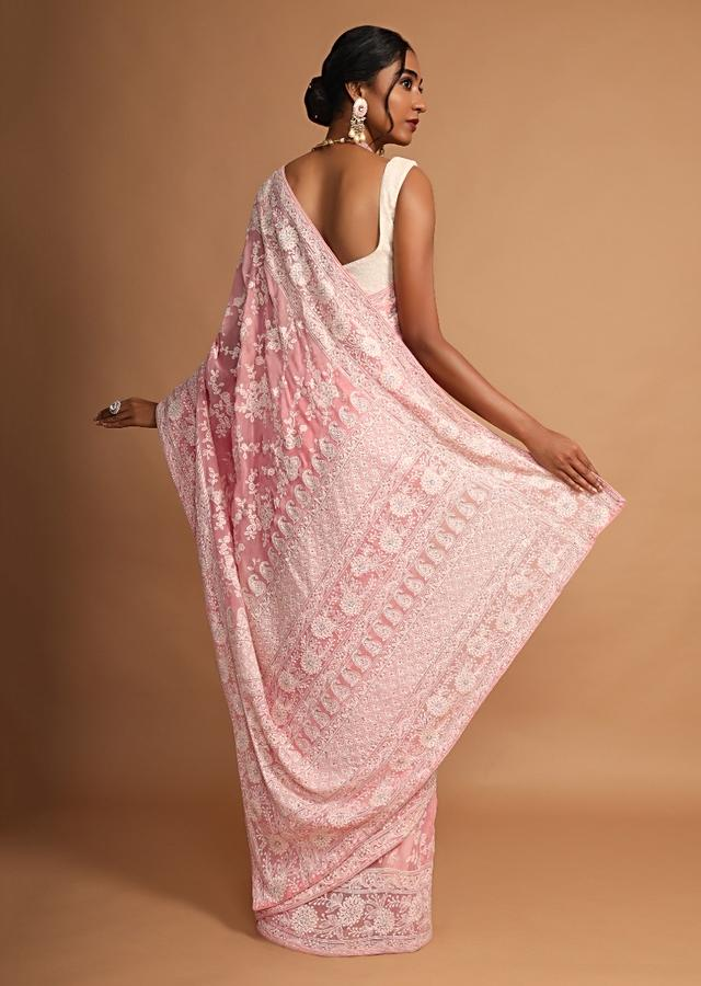 Rose Pink Saree In Georgette With Lucknowi Thread Embroidered Floral Jaal Online - Kalki Fashion