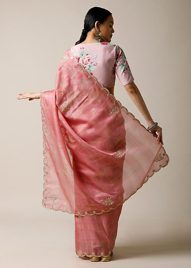 Rose Pink Saree In Kota Silk With Gotta Patti Embroidered Buttis And Border Along With Printed Unstitched Blouse Online - Kalki Fashion
