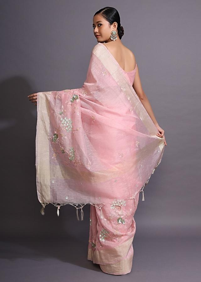 Rose Pink Saree In Linen With Resham And Moti Embroidered Floral Motifs Online - Kalki Fashion