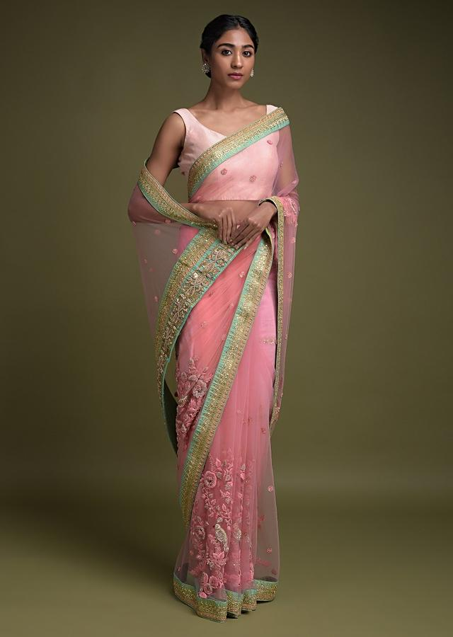 Rose Pink Saree In Net Adorned With Thread And Zardozi Embroidered Floral Pattern Online - Kalki Fashion