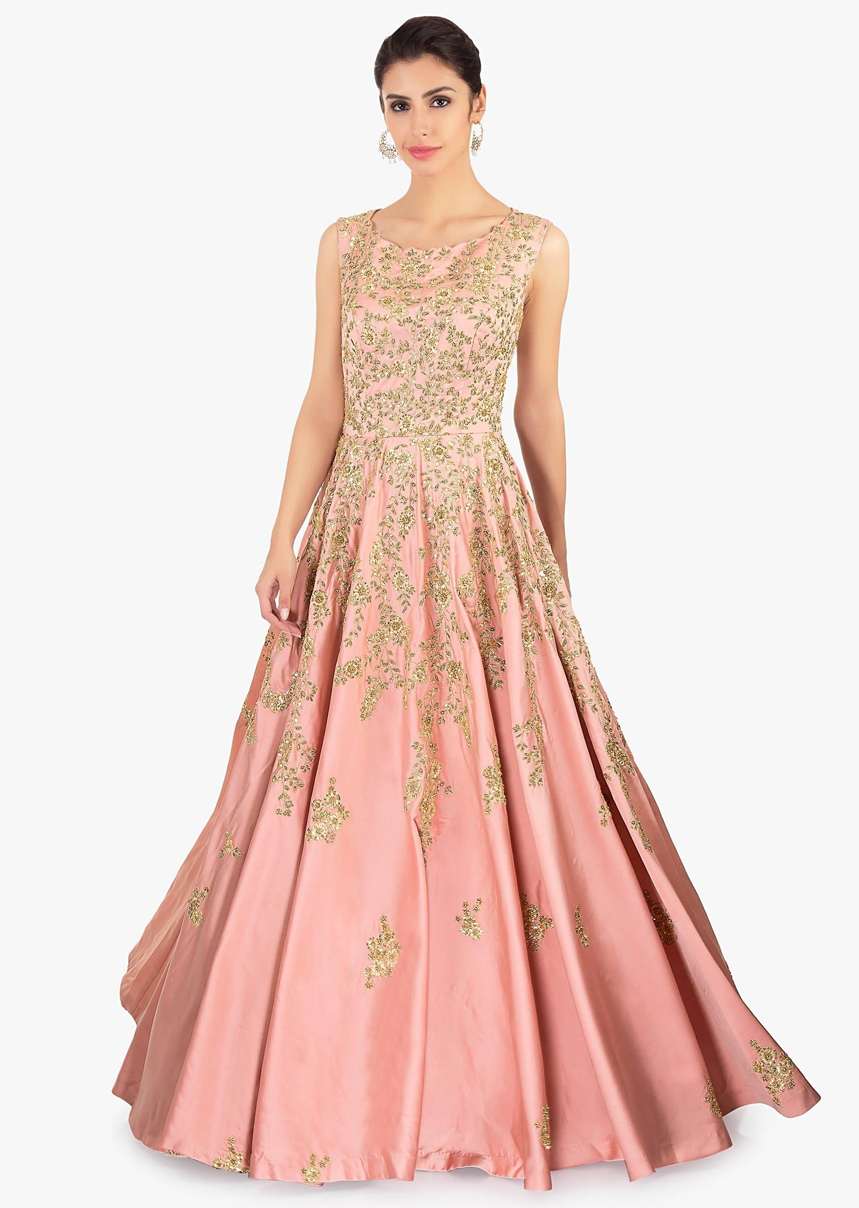 55e658cd56 Rose pink satin gown with embroidered jaal and butti only on KalkiMore  Detail