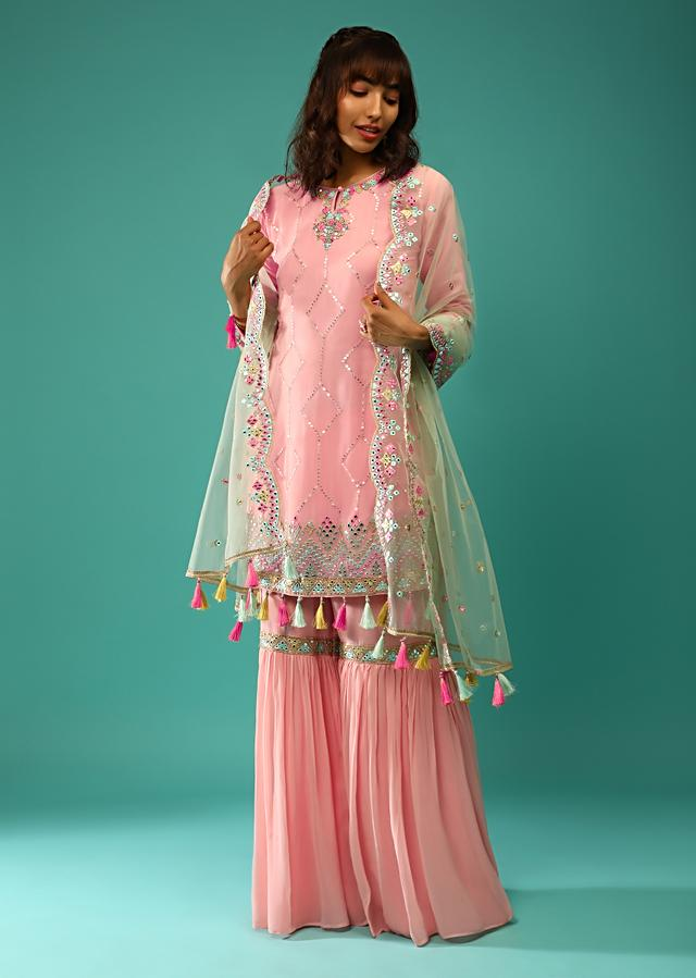 Rose Pink Sharara Suit In Georgette With Sequins Embroidered Geometric Motifs And Multi Colored Mirror Abla And Tassel Details Online - Kalki Fashion