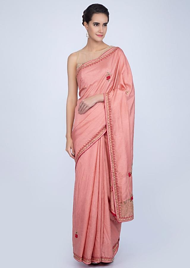 Rose Pink Silk Saree With Embroidered Butti And Border Online - Kalki Fashion