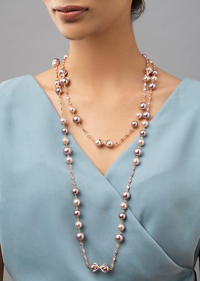Rose Pink Single Layered Necklace With Swarovski, Shell Pearls And Beads Online - Joules By Radhika