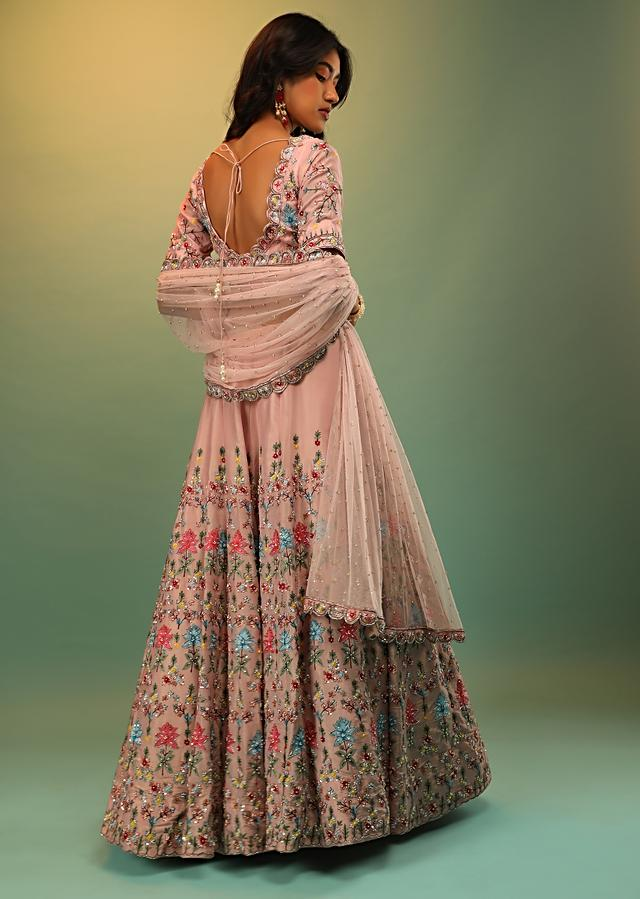Rose Pink Skirt And Crop Top With Multi Colored Resham And Sequins Embroidered Floral Motifs Online - Kalki Fashion