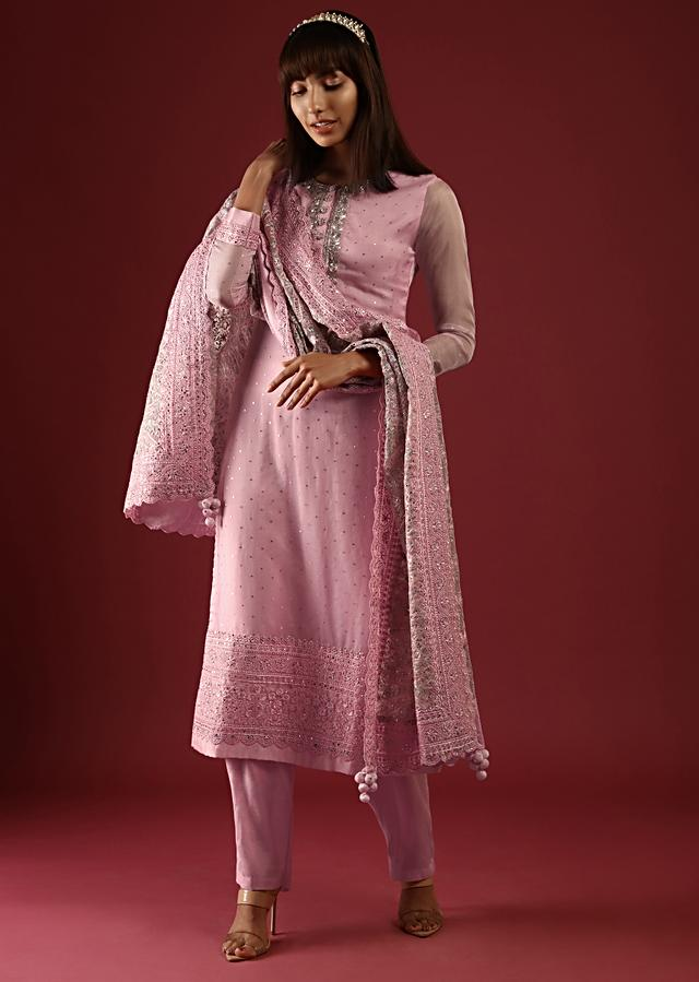 Rose Pink Straight Cut Suit With Zardosi Work On The Yoke And An Organza Dupatta With Multicolor Thread Work In Paisley And Floral Jaal Online - Kalki Fashion