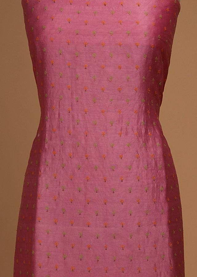 Rose Pink Unstitched Suit In Cotton With Thread Embroidered Buttis And Floral Motifs Online - Kalki Fashion