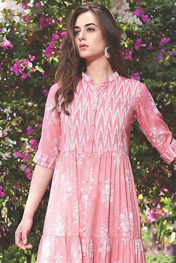 Rose Print Tunic Dress In Cotton With Ikkat Print And Tiered Pattern