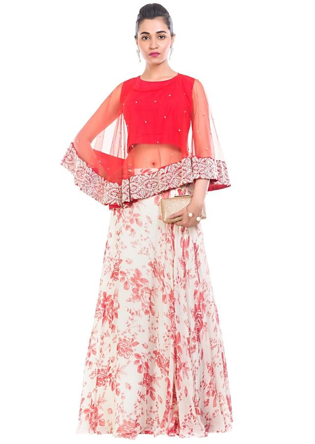 Rose Printed Skirt & Cape Set Online - Kalki Fashion
