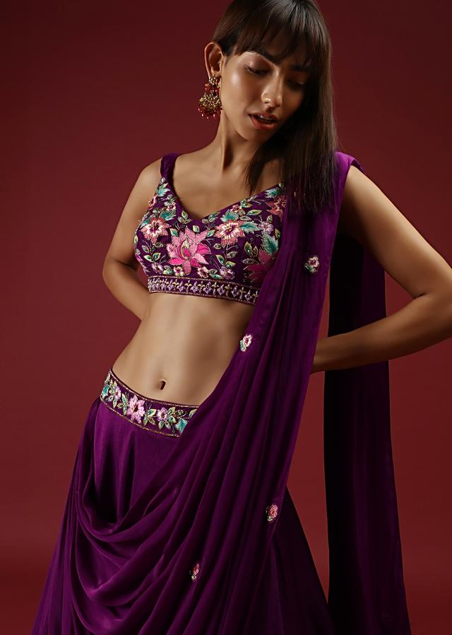 Rose Purple Lehenga  Choli In Raw Silk With An Attached Cowl Drape And Multi Colored Hand Embroidery Online - Kalki Fashion