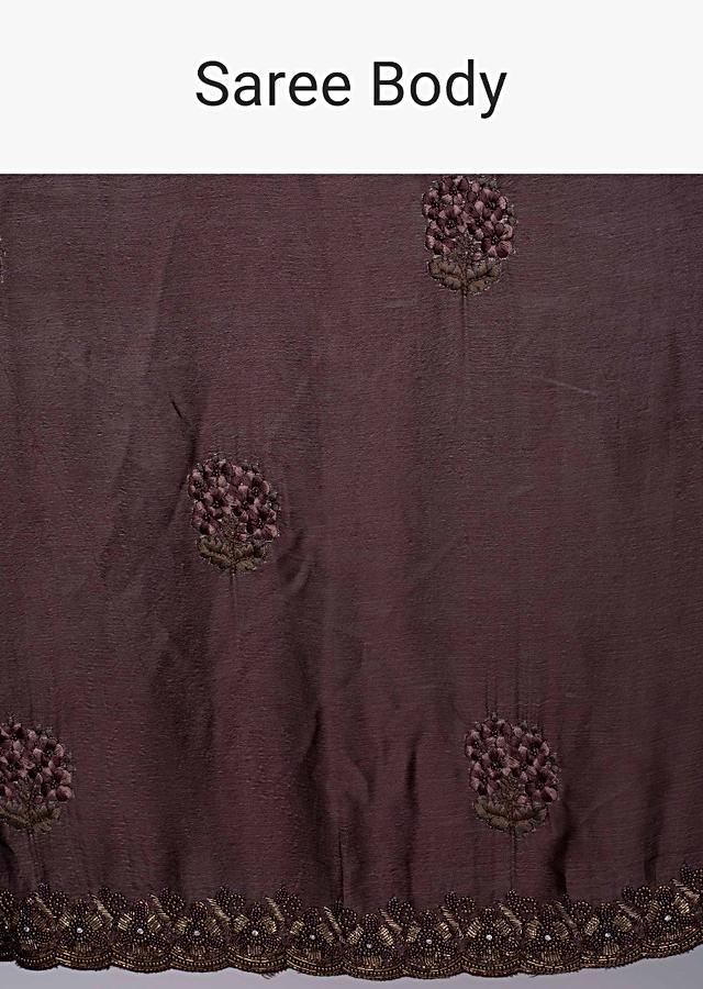 Rose Wood Brown Chiffon Saree With Embroidery And Butti Online - Kalki Fashion