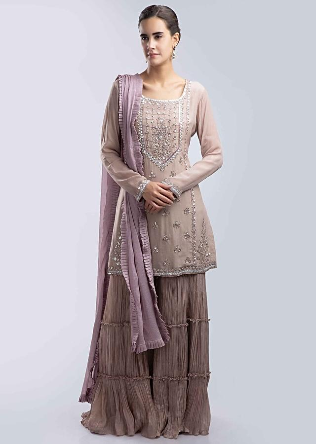 Rose Wood Pink Sharara Suit Set With Embroidered Front Panel Online - Kalki Fashion