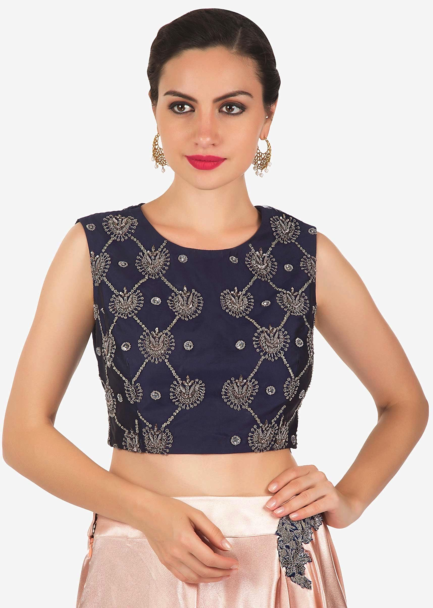 68fe80defffa9 Rose gold lehenga saree with navy blue blouse in zardosi and cut dana  embroidery only on Kalki