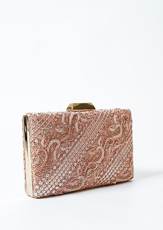 Rose Gold Metal Box Clutch With Hand Work On Both Sides Online - Kalki Fashion