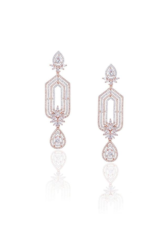Rose Gold Plated Earrings In Geometric Design With Faux Diamonds By Aster