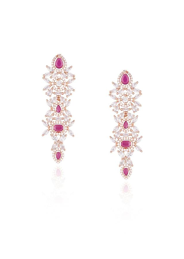 Rose Gold Plated Earrings Studded With Faux Diamonds And Ruby In An Elegant Design By Aster