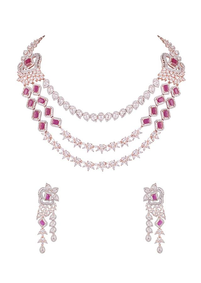 Rose Gold Three Layer Necklace And Earrings Set With Faux Diamonds And Red Stone By Aster