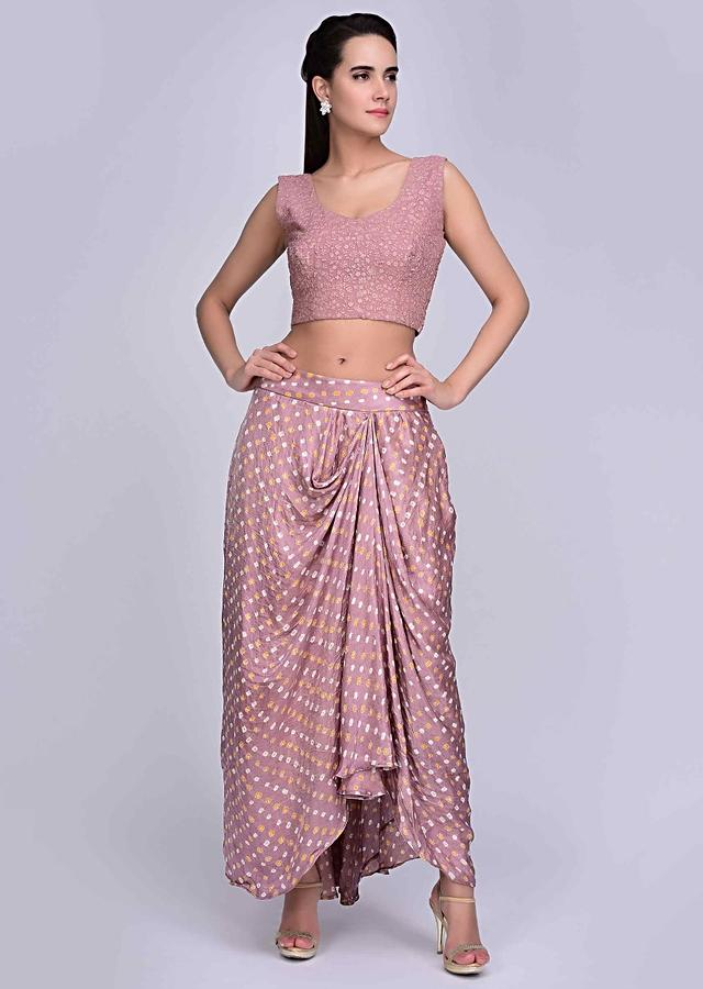 Rosewood pink printed draped skirt with matching crop top and long jacket only on Kalki