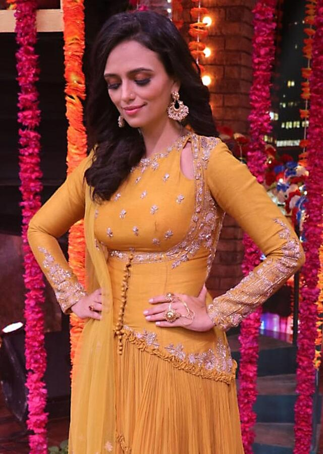 Roshini Chopra in Kalki Mustard Tiered Suit In Raw Silk And Chiffon With Net Dupatta