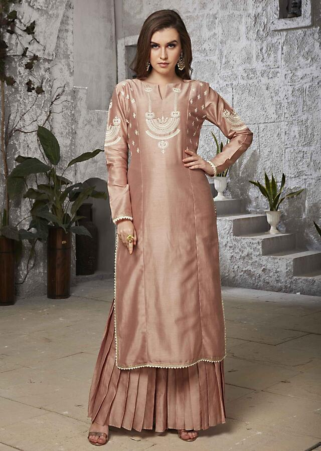 Rouge Peach Straight Sharara Suit In Cod Thread Embroidery Online - Kalki Fashion