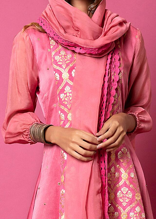 Rouge Pink A Line Suit With Floral Hand Woven Banarasi On The Centre Kali And Cheeta Embroidery Online - Kalki Fashion