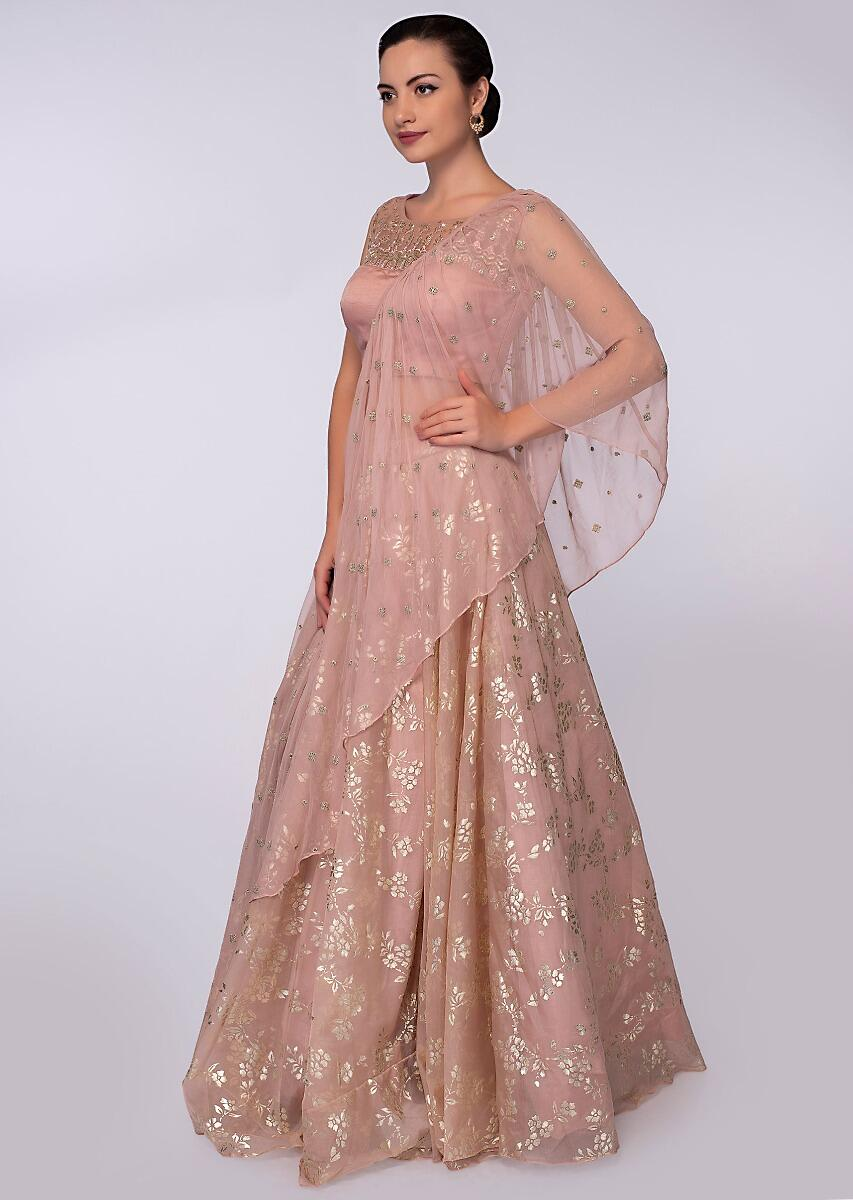 Rouge pink foil printed lehenga paired with matching embroidered blouse and  wrap around only on Kalki 20a7cff76