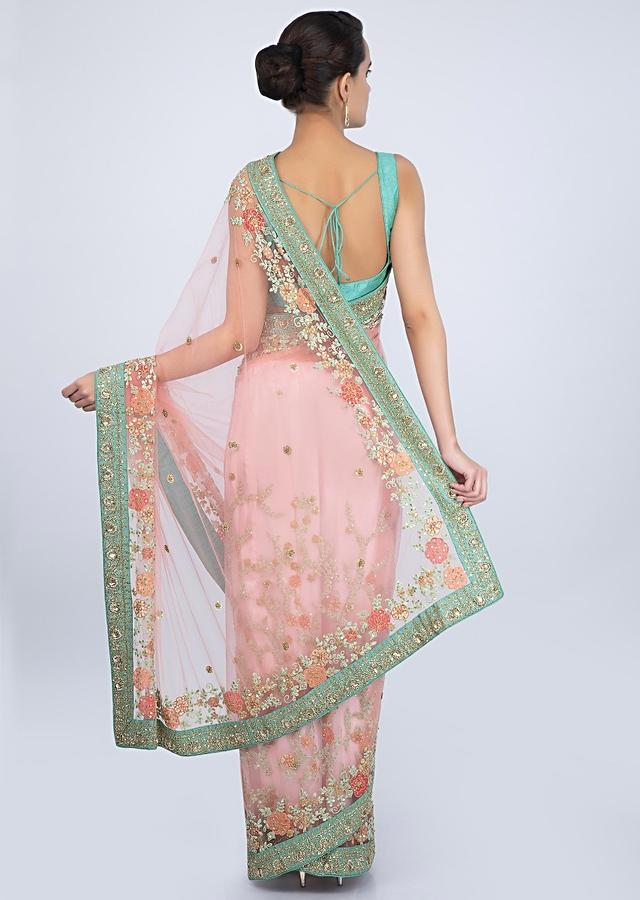 Rouge Pink Net Saree With Embroidered Jaal Work On The Lower Half And Pallo Online - Kalki Fashion