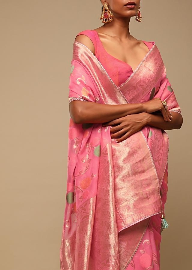 Rouge Pink Saree In Organza With Multi Colored Woven Floral Jaal And Moroccan Motifs On The Pallu Along With Unstitched Blouse Online - Kalki Fashion