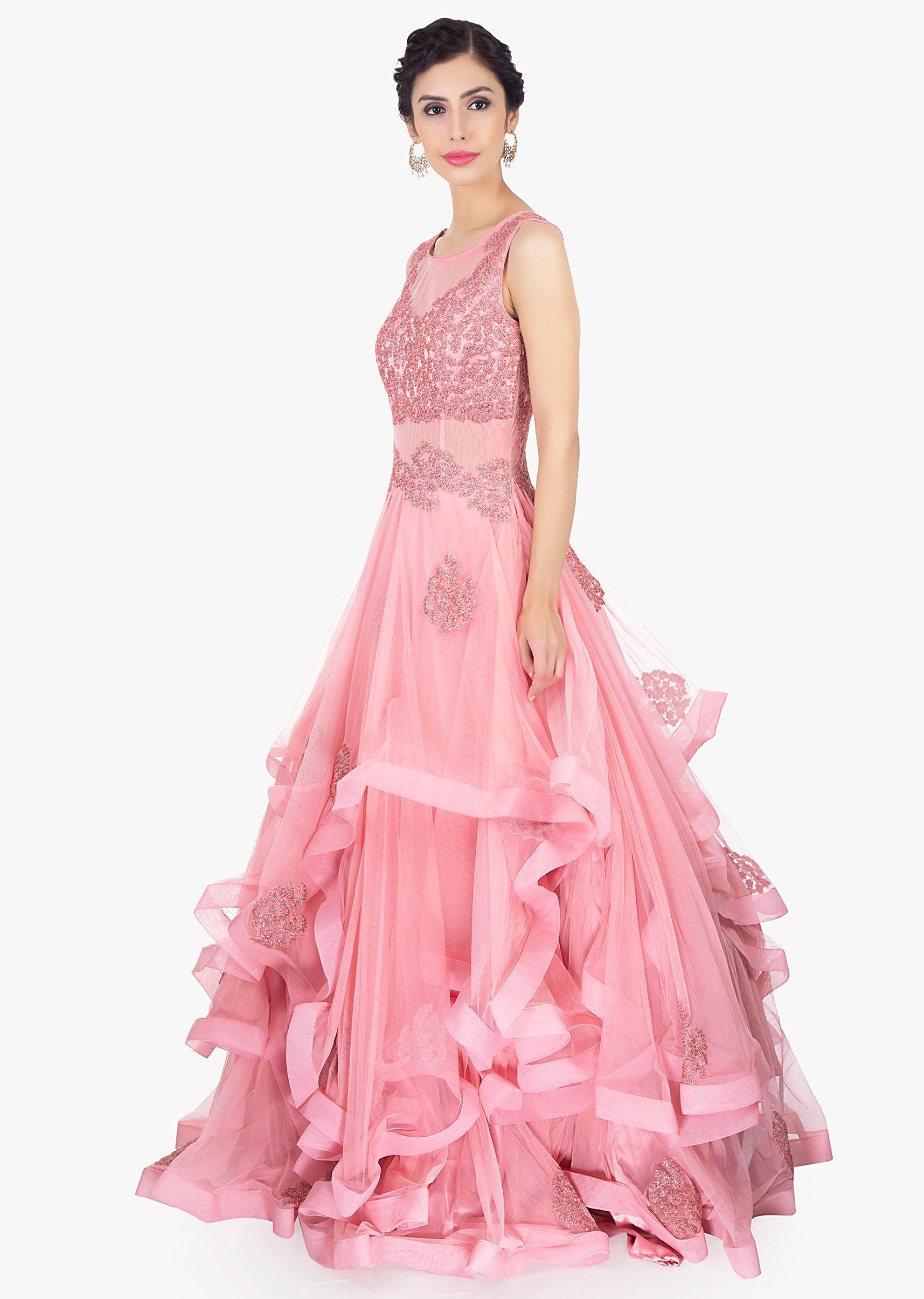 1242a2500b Rouge pink soft net ruffled gown only on KalkiMore Detail