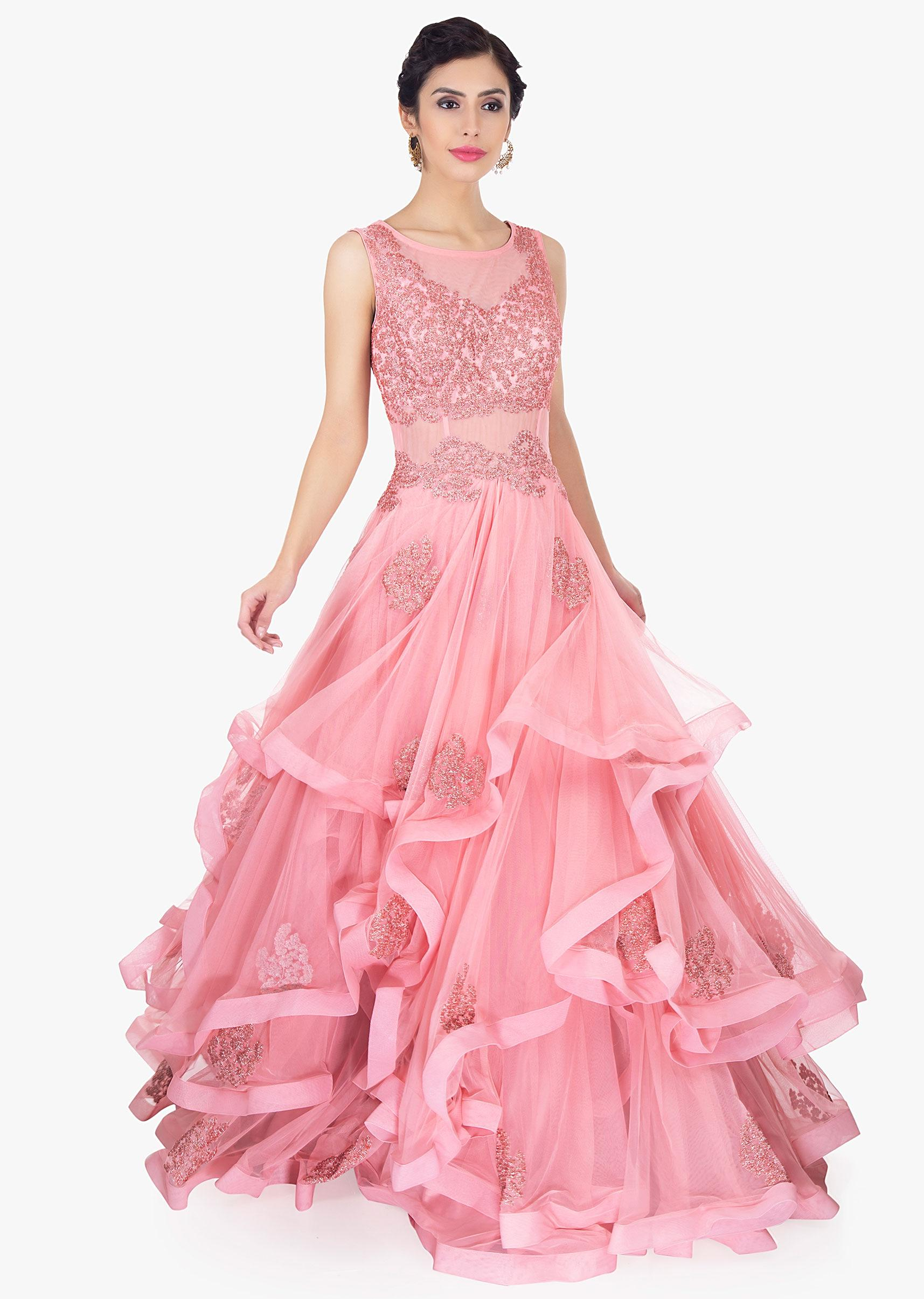 52ad745e07 Rouge pink soft net ruffled gown only on Kalki